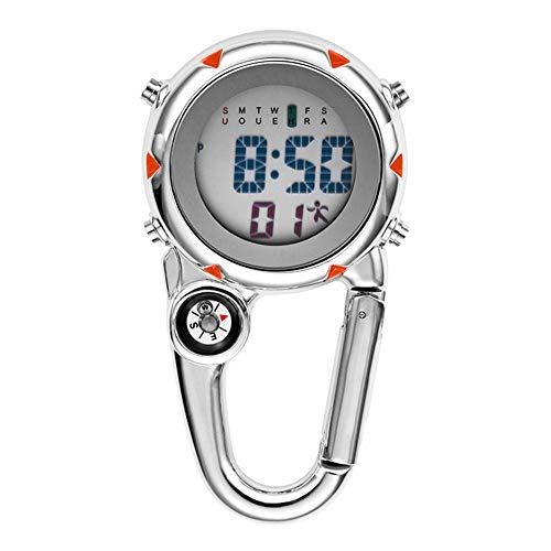 Breale Leuchtende Digitaluhr, Legierung Clip auf Karabiner multifunktionale Mini Quarzuhr Sportuhr Kompass oder Wanderer Bergsteigen Outdoor-Rucksack
