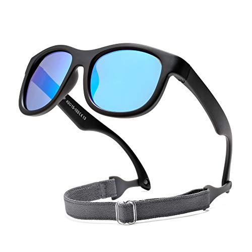 COASION Flexible Polarized Baby Sunglasses with Strap Adjustable for Toddler Newborn Infant 0-24 Months (Matte Black/Blue Mirror)
