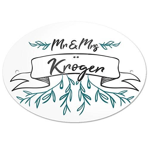 Eurofoto Türschild mit Nachnamen Kröger und Motiv - Mr & Mrs Kröger im Zeichenstil | für den Innenbereich | Klingelschild