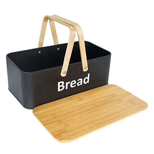 SOTECH Bread Box with Bread Bin Bamboo Lid and Bamboo Handle Modern Bread Box, Bread Storage, Bread Container for kitchen counter to Organizer Kitchen Decor, Vintage Kitchen Portable Black