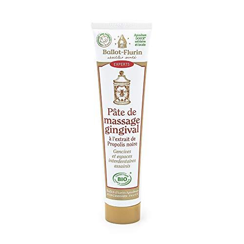 Ballot Flurin - Pâte Massage Gingival - Effet blanchissant et Anti-tâche - Apaise, assainit et soulage - à la Propolis noire et blanche bio - Fabriqué en France - Certifié Cosmébio - 75 ml