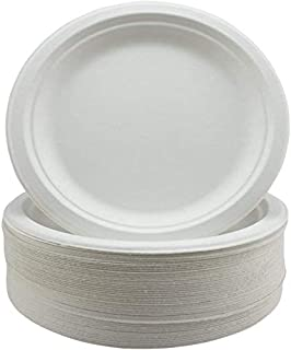 """GoodLife Bagasse Paper Plates - Extra Strength White Disposable Plates - 50 Pack 9"""" Party Plates - Biodegradable and Compo..."""