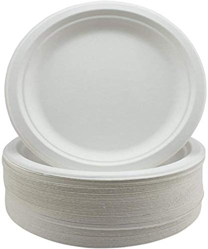 GoodLife Bagasse Paper Plates - Extra Strength White Disposable Plates - 50 Pack 9' Party Plates - Biodegradable and Compostable in Home Compost - The Ideal Disposable Tableware