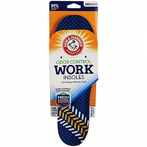 Arm & Hammer Work Insoles, Pair of Anti-Fatigue Arch Support Memory Foam Insoles for Men & Women (1 Pack)