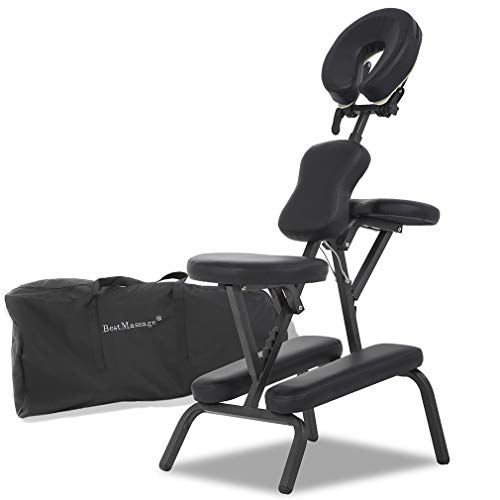 "Portable Massage Chair Comfort 4"" Thick Foam Light Weight Best Massage Brand With Free Carrying Bag BLACK"