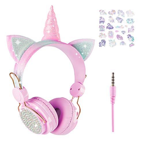 Unicorn - Auriculares para niñas y adolescentes, con cable, diadema ajustable y micrófono, conector de 3,5 mm y cable sin enredos para la escuela, Navidad, regalo de unicornio (rosa)