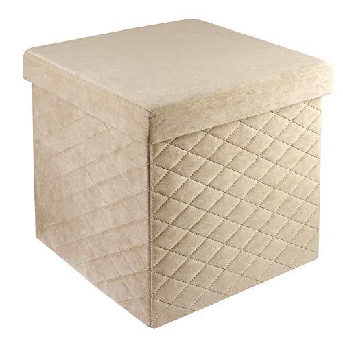 pouf contenitore beige Baroni Home Pouf Cubo Poggiapiedi Sgabello Contenitore Pieghevole in Velluto Imbottito Beige 38x38x38 cm