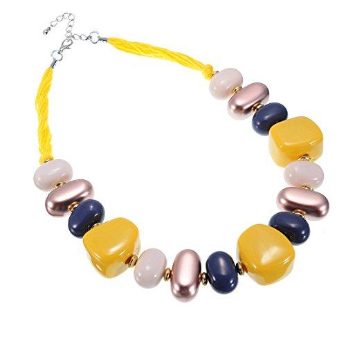 Jerollin Girocollo da donna in resina e pietre e Fede, colore: giallo, cod. N0010630