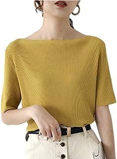 [タイセック] 五分袖 ボートネック リブ カットソー 半袖 Tシャツ 4色展開 春夏 無地 シンプル トップス セクシー