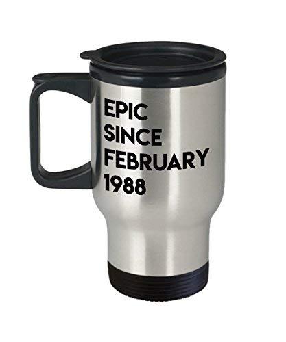Maureen52Dorothy 30 februari Verjaardagscadeau Epic Sinds februari 1988 Koffie Travel Mok Voor Mannen Vrouwen Vissen Ram 14Oz roestvrij staal
