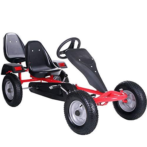 ArtSport 2-Sitzer Gokart mit Schalensitz, Luftreifen, Stahlfelgen & Freilauf | rot | Kinder Tretauto Kinderfahrzeug