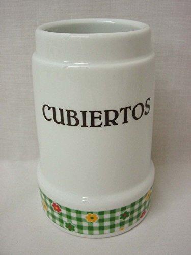 Bote CUBERTERO ESCURRE Cubiertos Ceramica SIN Cubiertos Grande Porcelana Flor Vichy Verde
