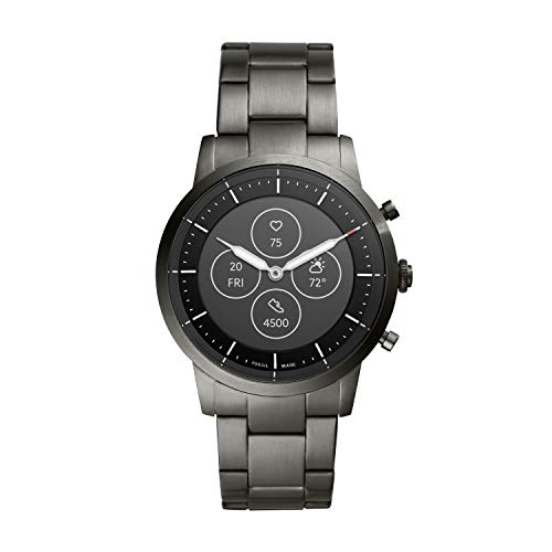 Fossil Men's Collider HR Heart Rate Stainless Steel Hybrid Smartwatch, Color: Smoke (FTW7009)
