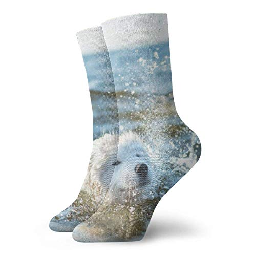 White Dog Samoyed Playing Non Slip Compression Socks Cozy Athletic 11.8 Inch Crew Socks For Men, Women, Kids