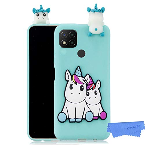 HopMore Funda para Xiaomi Redmi 9C Silicona Flexible Blando Divertidas Animal Carcasa Funda Xiaomi Redmi 9C Dibujo 3D Soft Case Ultrafina Cover Gracioso - Unicornio Verde