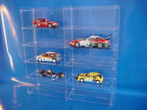 Unbekannt Setzkasten aus Acrylglas für 1:24/1:32 Slotcars SL018 Rückwand Spiegel