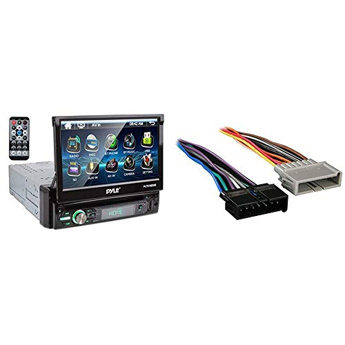 """Pyle Single DIN Head Unit Receiver - in-Dash Car Stereo with 7"""" Multi-Color Touchscreen Display, Black & Metra 70-1817 Radio Wiring Harness for Chrysler/Jeep 1984-2006 Harness"""