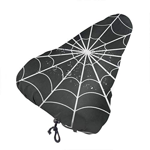Bike Seat Cover Cobweb Spider Black Minimalist Stripe Waterproof Bicycle Seat Rain Cover with Drawstring, Sun/Water/Dust Resistant Bike Saddle Cushion Cover Protector Shield for Women/Men/Unisex