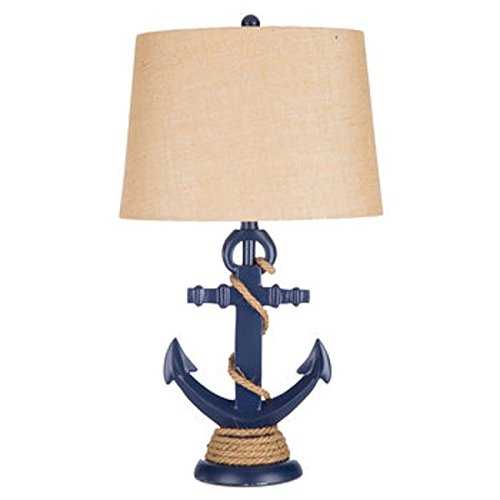 Navy Blue Anchor Rope Resin Lamp Beige Woven Lampshade Nautical