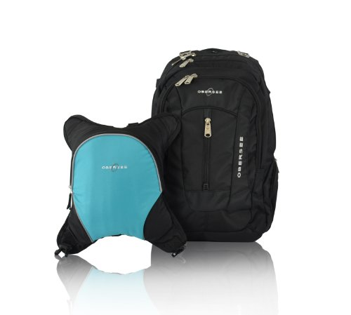 Bern Diaper Backpack, Shoulder Baby Bag, With Food Cooler, Clip to Stroller (Black/Turquoise)
