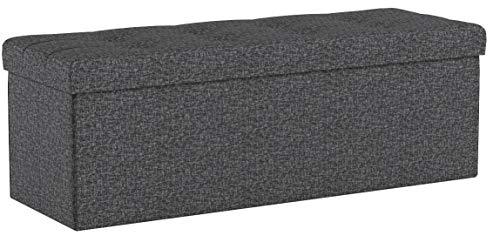 SONGMICS Banc avec Espace de Rangement, Siège, Coffre de Rangement, Pliable, Capacité de Charge 300 kg, avec Séparateur en Métal, 120 L, 110 x 38 x 38 cm, Imitation Lin, Gris Foncé LSF77K