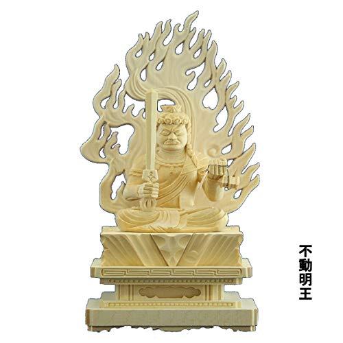 木彫仏像/不動明王座像火炎光背四角台3.0寸桧木ヒノキ 木彫り ぶつぞう