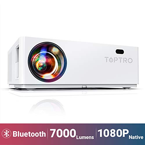 """TOPTRO Bluetooth Projector,Native 1080P and 350"""" Display,7000 Lux Video Projector,Support 4K,Zoom&±50°4D Keystone Correction,Home Theater Projector Compatible with Phone/TV Stick/PC/USB/PS4/DVD"""