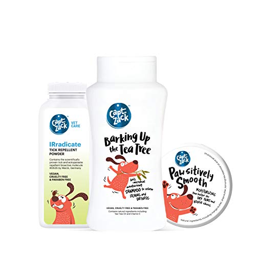 Captain Zack Classic Combo - Relieve Itching, Anti-Fungal, Anti-Bacterial Dog Shampoo-200ml. No Tick and Flea Powder-75g, Paw Butter for Cracked and Chapped Paws-25g