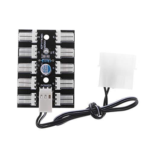 GREEN&RARE Ventilador PWM de 3 pines de 10 vías, hub PC host CPU juego de refrigeración de agua divisor caja adaptador