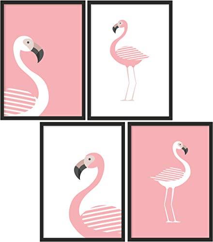 Kinderposter 4er-Set | 4X DIN A4 Poster | Jungen & Mädchen | Kunstdruck fürs Kinderzimmer | Motiv: Flamingo