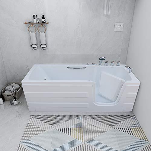 Mecor Walk-in Whirlpool Bathtub , Rectangular Soaking Bathtub,Right Intward Opening Door and Right Drain, 61'' x 30'' x 24'' ,White
