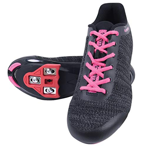 Tommaso Pista Aria Knit Women's Spin Class Ready Cycling Shoe and Bundle - Black/Pink - Look Delta - 40