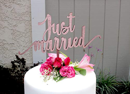 Placa decorativa para tarta de boda con texto en inglés'Just Married'