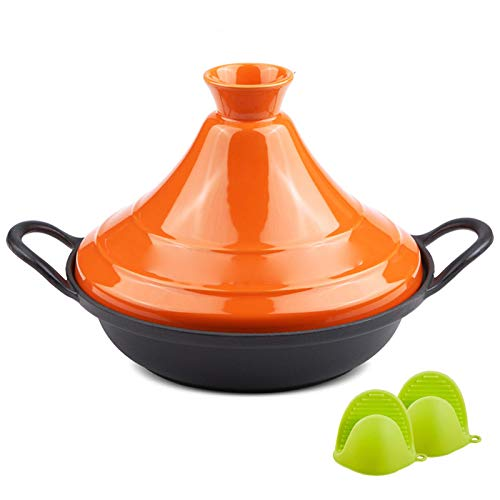weiwei Cast Iron tagine Pot Moroccan with Named cast Iron Base and Silicone Gloves for Different Cooking Styles Non-Stick Pot - Lead-Free Orange