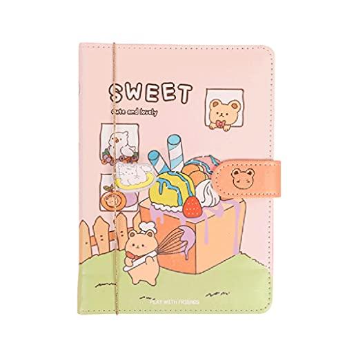 ZAZA Cuaderno Diario Cuaderno De Hebilla Magnética Creativo Lindo Diario Portátil Multifuncional Página En Color Regalo De Bloc De Notas Cuadernos para Mujeres (Color : A)