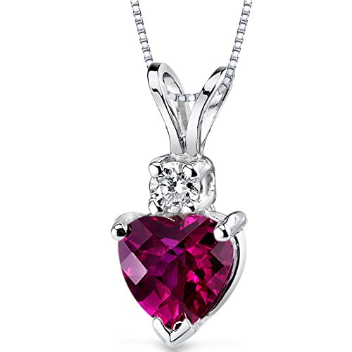 14 Karat White Gold Heart Shape 1.00 Carats Created Ruby Diamond Pendant