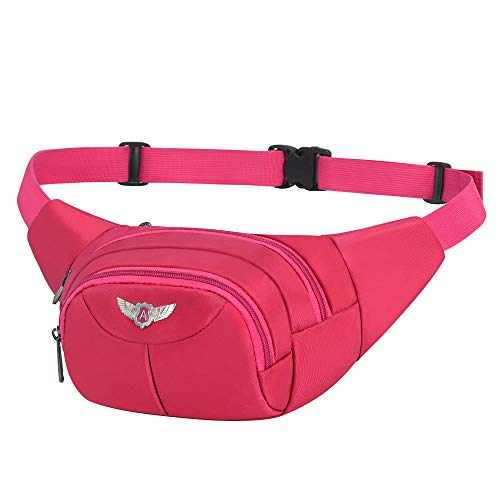 AirZyx Riñoneras de Marcha Running de Acampada y Marcha Bolsos de Gimnasio Bolsos Bandolera para Hombre Mujer (Rojo Rosa)