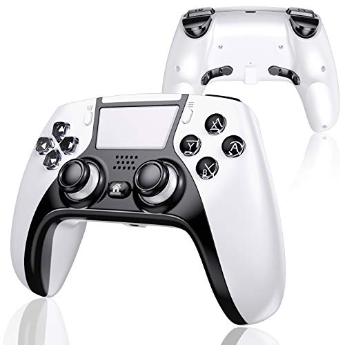 UeeVii PS4 Controller with 4 Paddles, Wireless Game Controller Compatible with Playstation 4/Pro/Slim/TV/Steam Truly Ergonomic Touch Function 1000mAh Battery White