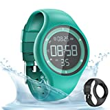 synwee Sports Fitness Tracker Watch,IP68 Waterproof, Non-Bluetooth, with Pedometer/Vibration Alarm Clock/Timer,for Kid Children Teen Boys Girls Women (Green)