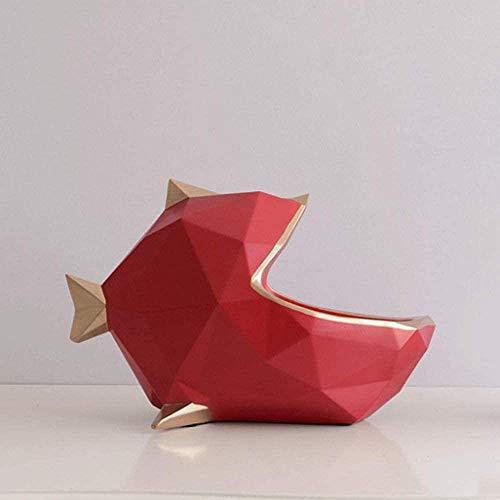 Escultura Decorativa Salon,Escultura De Animales 3D Pez Rojo Llave Caja De Almacenamiento De Teléfono Forma De Diseño Estatuas Arte Moderno Vintage Simple Escultura De Animal Minimalista Para Sala