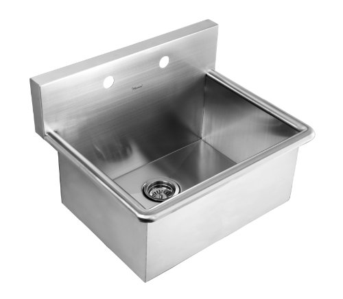 Whitehaus WHNC2520-BSS Noah's Collection 25-Inch Commercial Drop-In Laundry-Scrub Sink, Brushed Stainless Steel