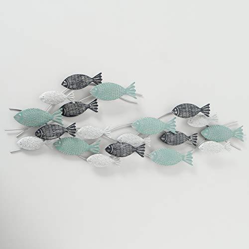 mucplants Wandobjekt Fischschwarm aus Eisen 7cm x 111cm x 38cm Blau Wandobjekt Wandskulptur