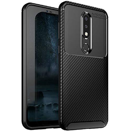 FINON Carbon Design Model [ TPU ] for Nokia 6.1 Plus Case Nokia X6 (2018) Case - Fingerprint Prevention Function and Lightweight Soft case, Shock Resistance - Black