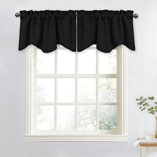NICETOWN Window Blackout Valance for Bedroom - Elegant W52 x L18 Scalloped Valance Blackout Curtain Tier for Kids Bedroom/Bedroom/Living Room/Kitchen Window (Black, 1 Piece)