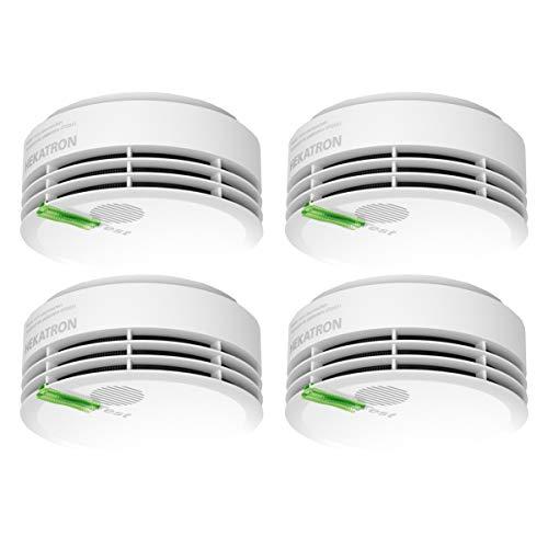Hekatron 31-5000020-14-01 Rauchmelder Genius PLUS mit integrierter Batterie (10 Jahre Lebensdauer) – inkl. 4 x Klebepad – App-unterstützt – Rauchwarnmelder in Weiß – 4er Set