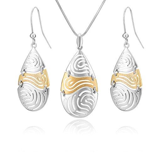 LillyMarie Damen Silber-Schmuckset Silber 925 Massiver Tropfen-Anhänger Vergoldet Längen-verstellbar Geschenkverpackung Pärchen Geschenke