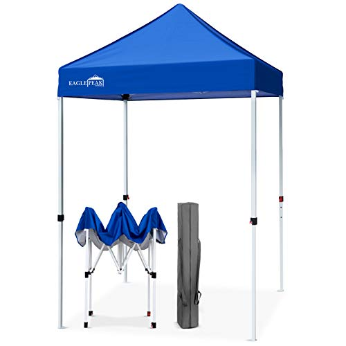 EAGLE PEAK 5' x 5' Pop Up Canopy Tent Instant Outdoor Canopy Easy Set-up Straight Leg Folding Shelter (Blue)