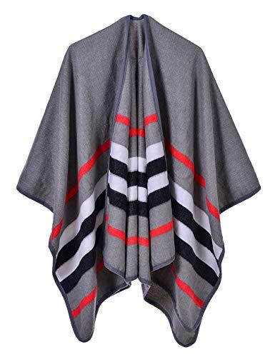 SOMTHRON dames poncho met strepen patroon overtrek cape 130×150cm