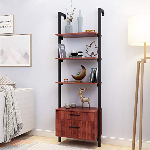 AECOJOY Wall Mounted Industrial 3-Tier Bookshelf with 2 Wood Drawers and Matte Steel Frame Ladder Shelf Bookcase Ideal for Bathroom Home Office Black