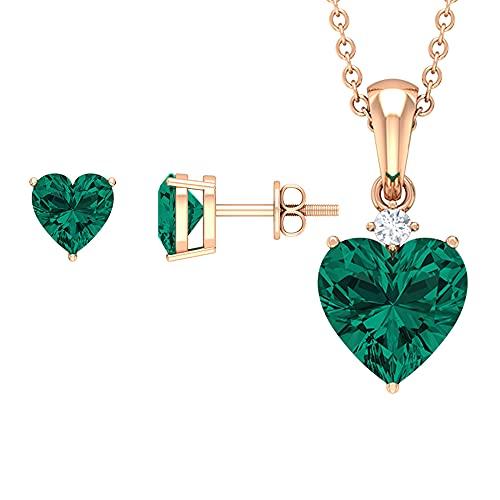 3.75 CT solitario conjunto de joyas con forma de corazón creado esmeralda rusa y diamante verde